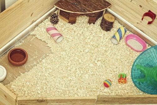 eksempel på indretning af et bur