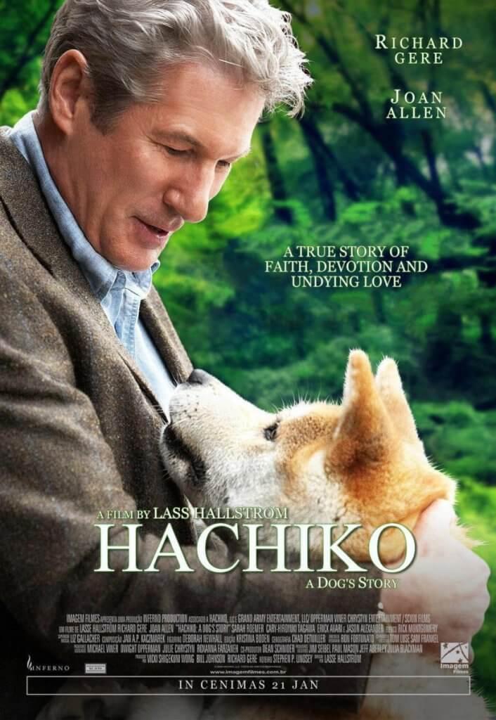plakaten fra Hachiko, som er en god film til hunde