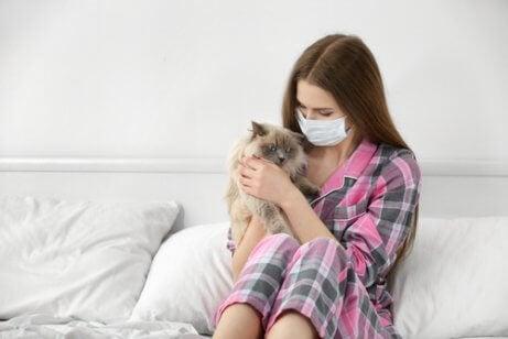 kvinde, der er allergisk over for sin kat