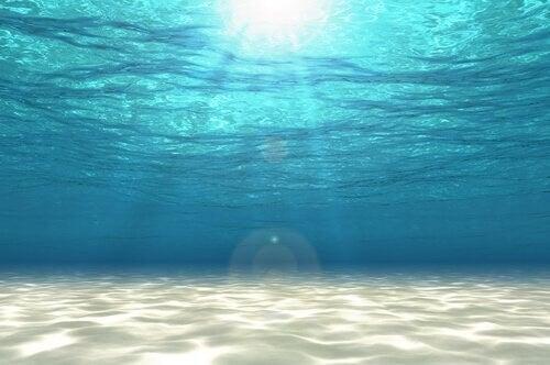 Solen skinner ned i havet