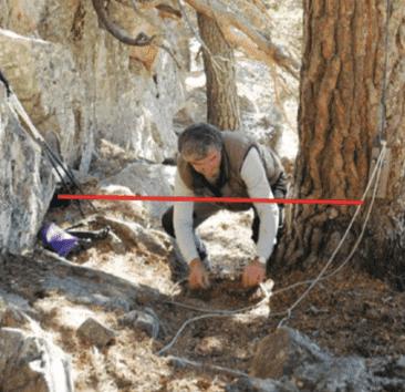 mand opsætter en rebfælde til at fange vilde dyr