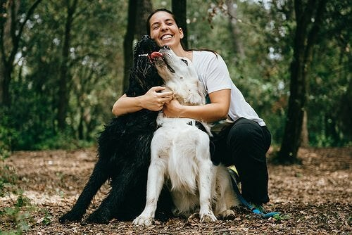 Smilende kvinde i skov med to hunde