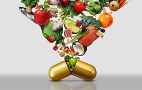 Fødevarer med vitaminer i kapsel
