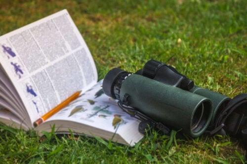 Bog og kikkert i græs er eksempel på bøger om zoologi