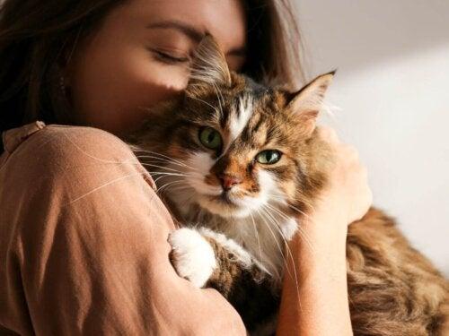 Kvinde krammer en kat