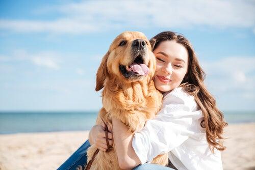 Koira ja omistaja rannalla
