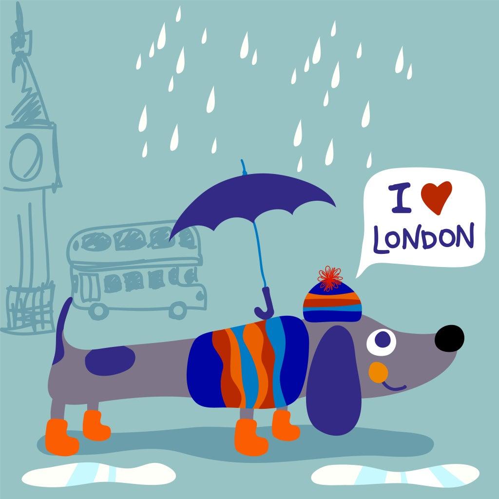 """un dessin d'un chien sous la pluie avec """"I love London"""""""