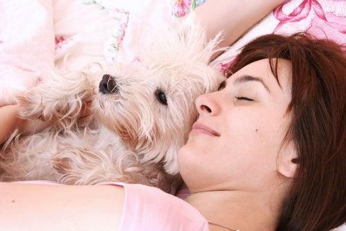 un femme et un petit chien qui dorment ensemble