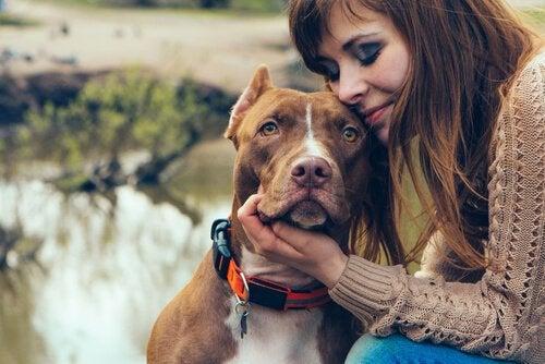 Un femme cajole un chien
