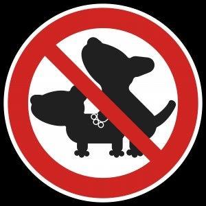 Panneau qui interdit les accouplements de chiens