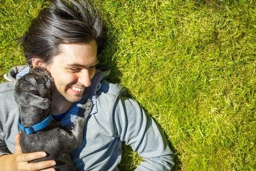 un chien lèche le visage d'un homme