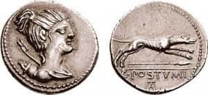 Image d'un chien sur une pièce de monnaie.