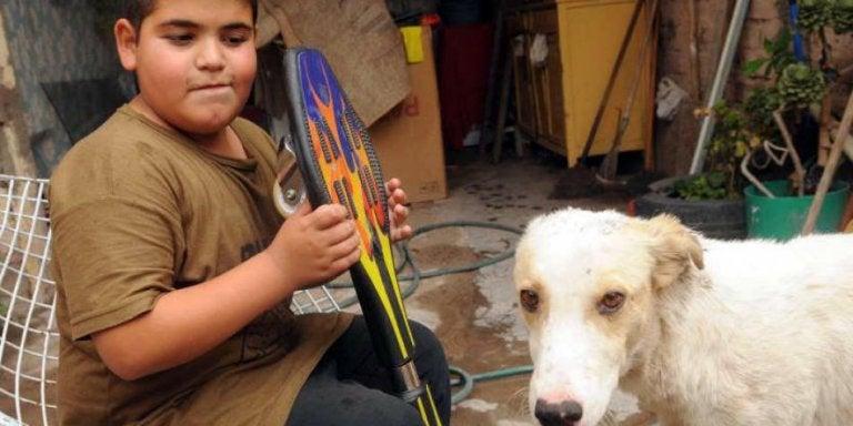 スケボーを持った少年と犬