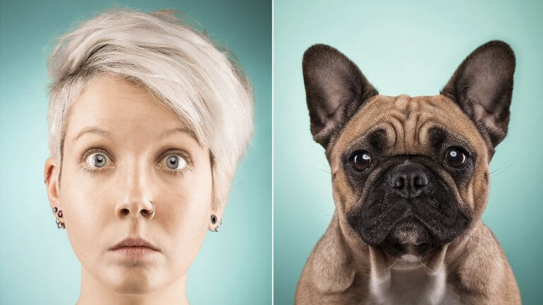 ショートヘアの女性とパグ