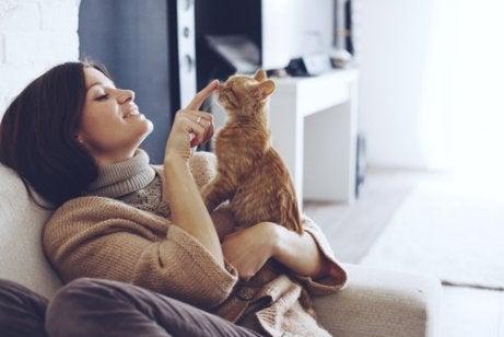 Kvinne som leker med katten hennes