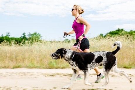 Kvinne som løper på stranden med en svart og hvit hund.