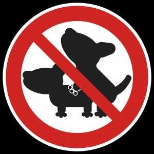 Skilt med sexforbud for hunder.
