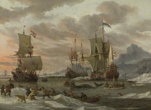 En scene med hvalfangst som finner sted