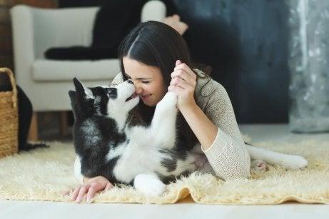 En kvinne som leker med hunden sin