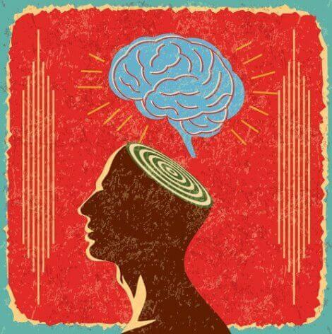 Et abstrakt bilde av en hjerne og et hode