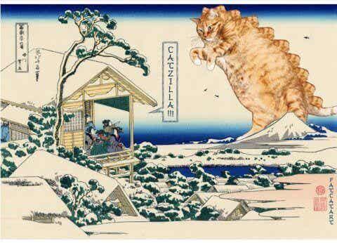 Kunstnere som forvandler kunstverk til kunstverk med katter