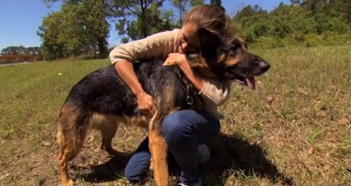 De gewonde vrouw knuffelt haar redder