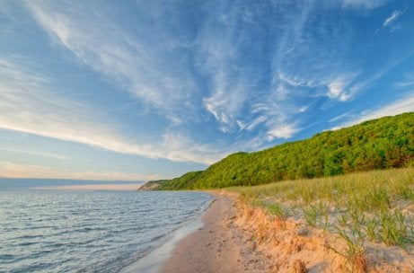 De kustlijn van de Grote Meren