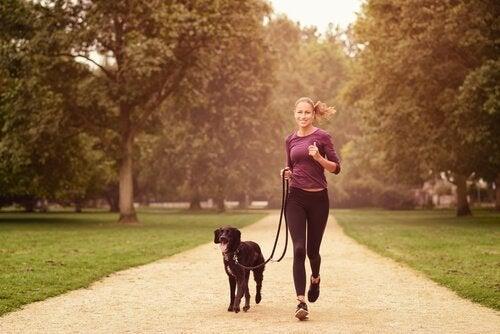 Vrouw met haar hond die in de natuur loopt
