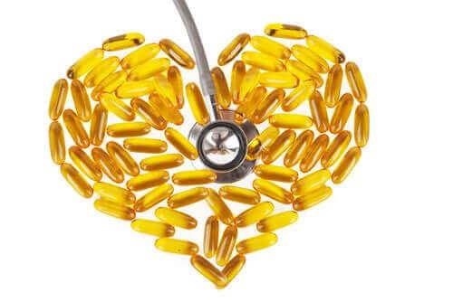 Visolie capsules in de vorm van een hart