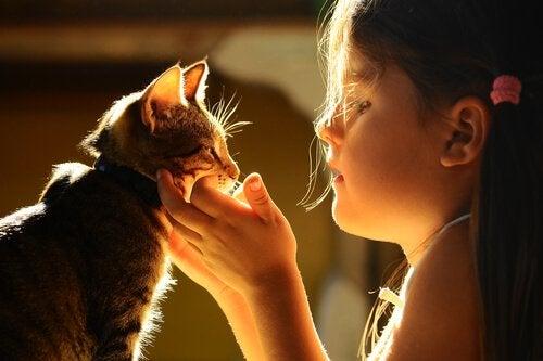 Een meisje knuffelt haar kat