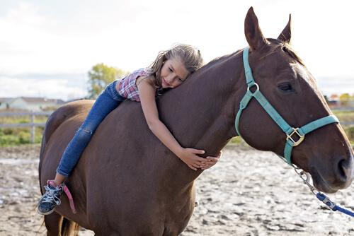 Meisje geeft haar paard een knuffel
