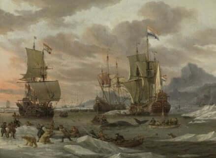 Een schilderij van de walvisjacht