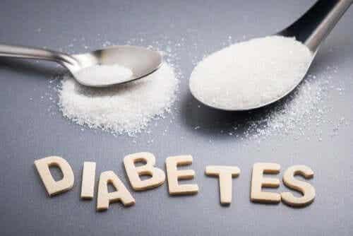 Twee lepels suiker met daaronder het woord diabetes
