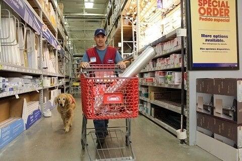 Pies opiekun i mężczyzna w sklepie