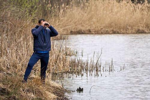 En man observerar våtmarken med en kikare.