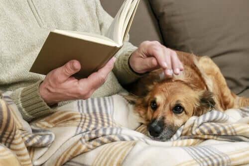 Äldre person läser med sin hund i knät.