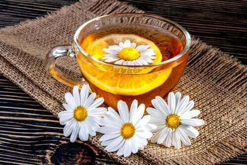 En kopp kamomillte med blomma i.