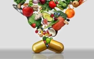 En vitamintablett fylld av frukt och grönsaker