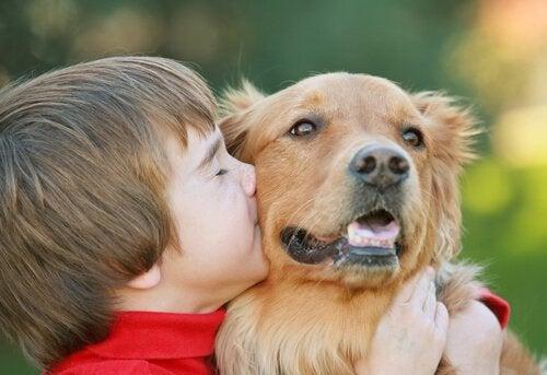 Boy hugging and kissing his dog
