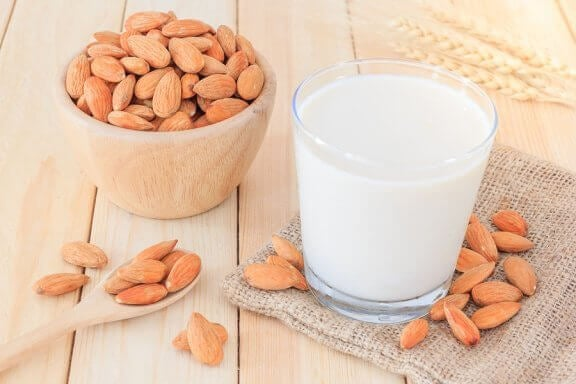 A cup of almond milk.