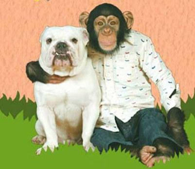 Pankun the monkey hugging his friend James the dog.