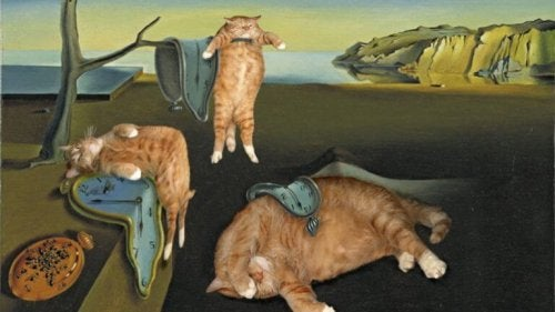 This is a piece of art with felines.