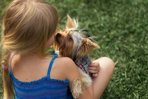 A girl kissing a dog.