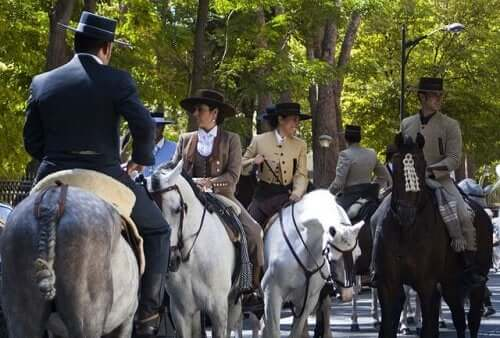 Andalusian horses with their riders.
