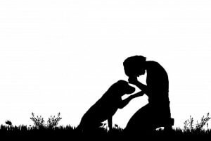 A dog and its owner.
