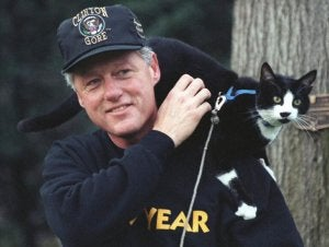 President Bill Clinton and his cat, Socks.