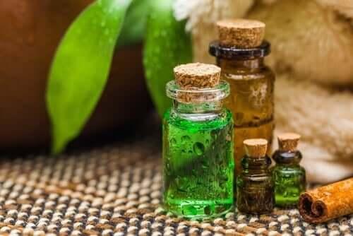 Teatree oil in bottles.