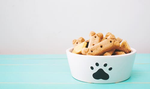A picture of a bowl with dog treats.