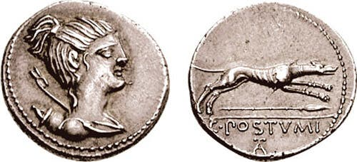 An ancient coin featuring a wolf.