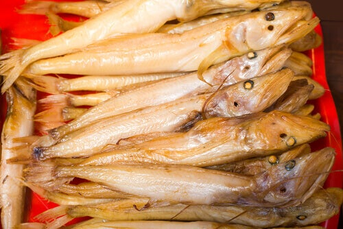 A photo of some Golomianka fish that live in Russia.